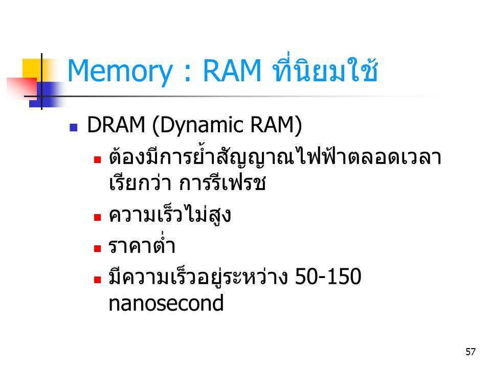 57 Memory : RAM ที่นิยมใช้ DRAM (Dynamic RAM) ต้องมีการย้ำสัญญาณไฟฟ้าตลอดเวลา เรียกว่า การรีเฟรช ความเร็วไม่สูง ราคาต่ำ มีความเร็วอยู่ระหว่าง 50-150 n