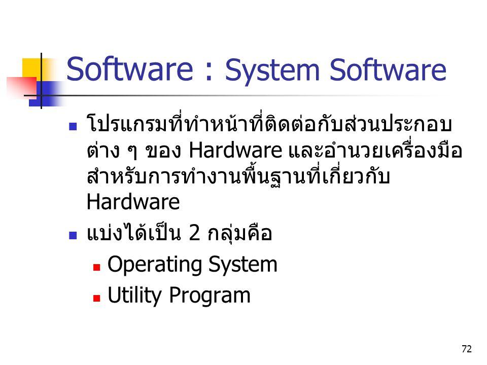 72 Software : System Software โปรแกรมที่ทำหน้าที่ติดต่อกับส่วนประกอบ ต่าง ๆ ของ Hardware และอำนวยเครื่องมือ สำหรับการทำงานพื้นฐานที่เกี่ยวกับ Hardware