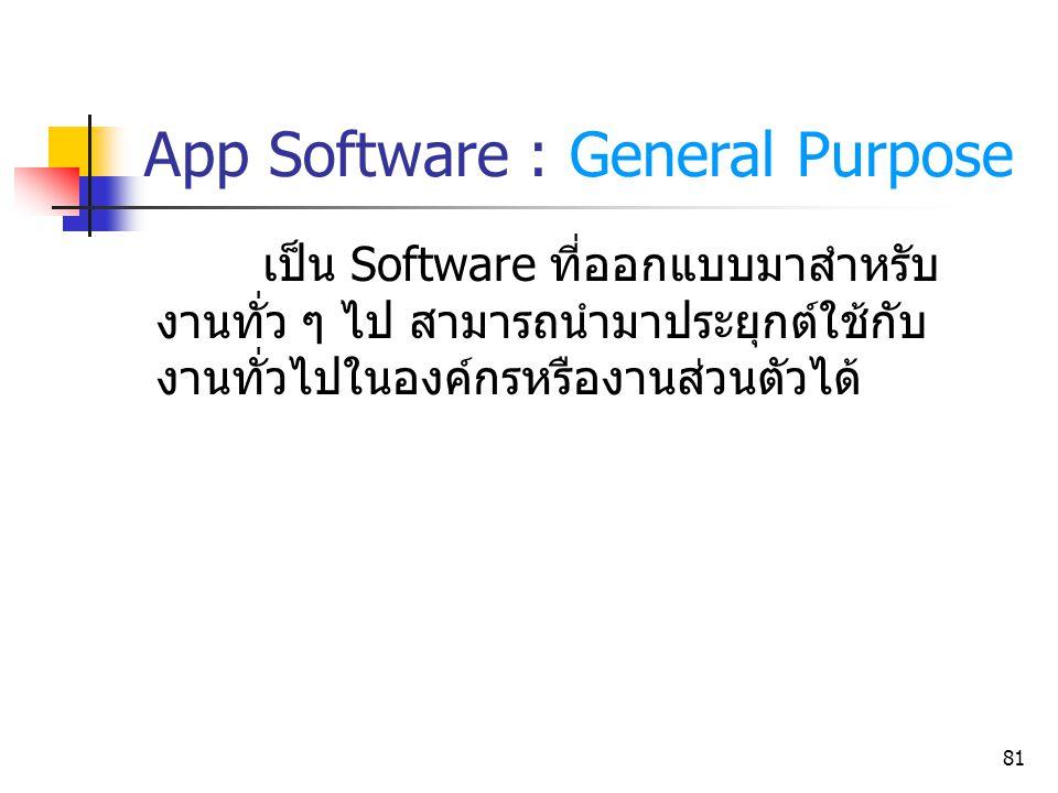 81 เป็น Software ที่ออกแบบมาสำหรับ งานทั่ว ๆ ไป สามารถนำมาประยุกต์ใช้กับ งานทั่วไปในองค์กรหรืองานส่วนตัวได้ App Software : General Purpose