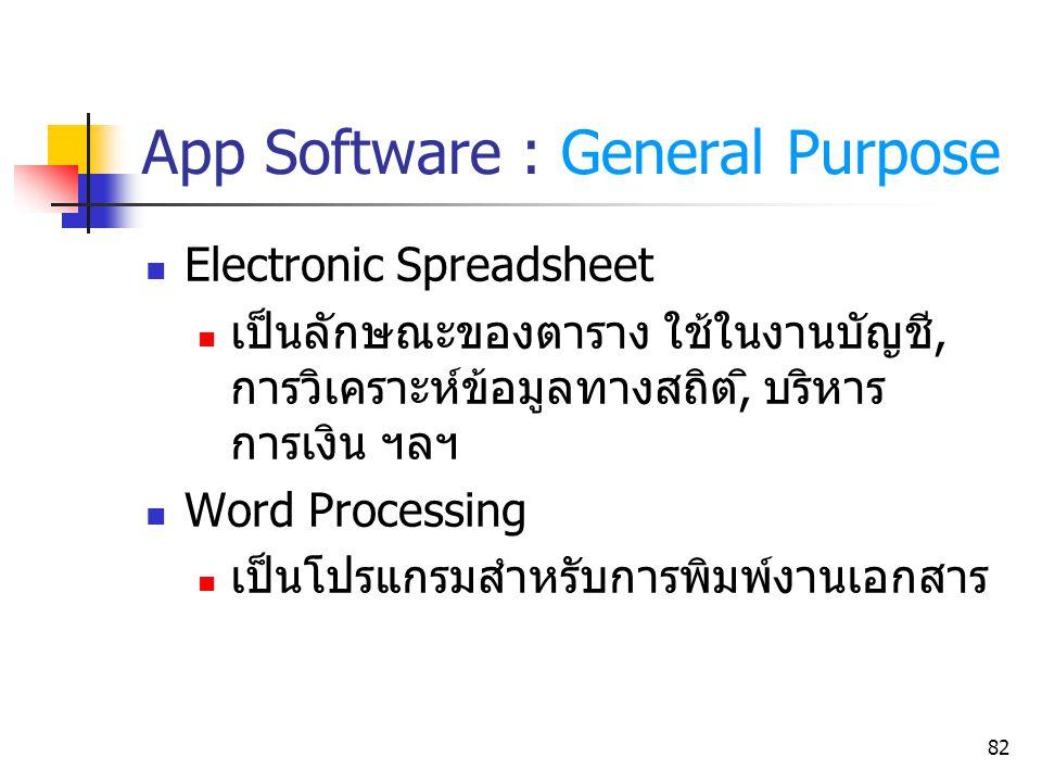 82 App Software : General Purpose Electronic Spreadsheet เป็นลักษณะของตาราง ใช้ในงานบัญชี, การวิเคราะห์ข้อมูลทางสถิต,ิ บริหาร การเงิน ฯลฯ Word Process