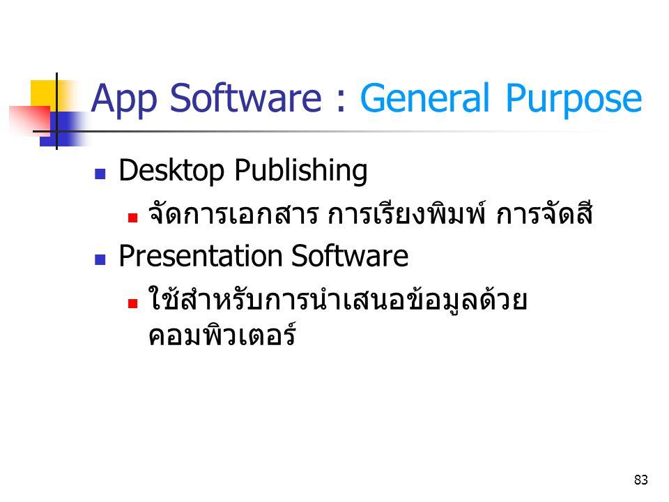83 App Software : General Purpose Desktop Publishing จัดการเอกสาร การเรียงพิมพ์ การจัดสี Presentation Software ใช้สำหรับการนำเสนอข้อมูลด้วย คอมพิวเตอร