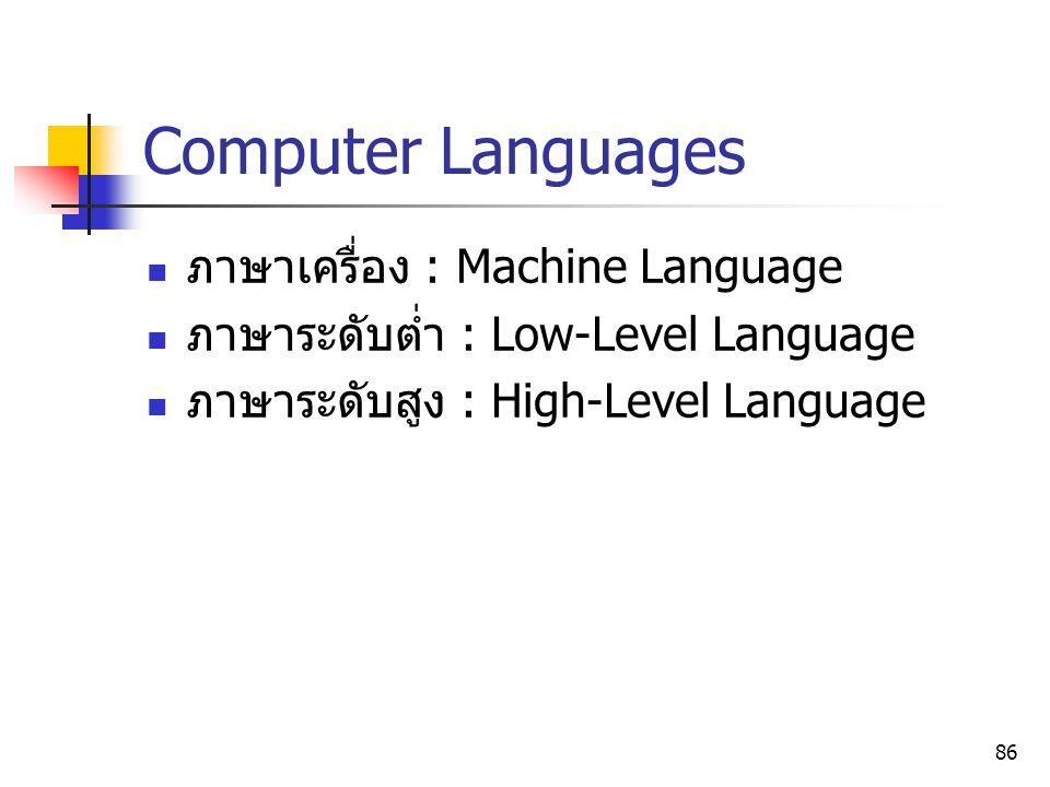 86 Computer Languages ภาษาเครื่อง : Machine Language ภาษาระดับต่ำ : Low-Level Language ภาษาระดับสูง : High-Level Language