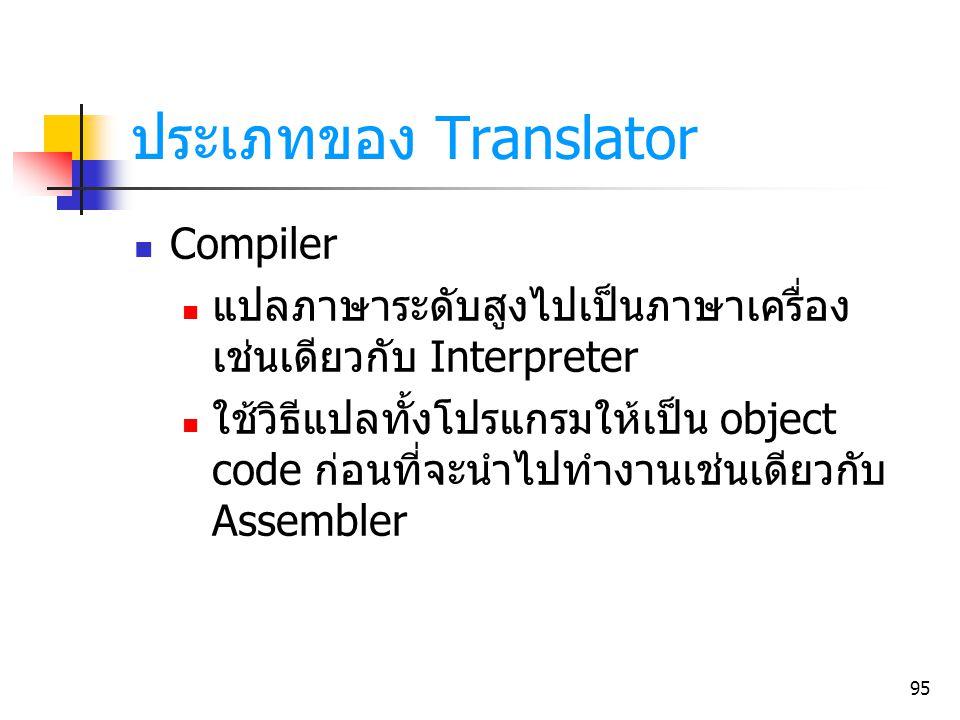 95 ประเภทของ Translator Compiler แปลภาษาระดับสูงไปเป็นภาษาเครื่อง เช่นเดียวกับ Interpreter ใช้วิธีแปลทั้งโปรแกรมให้เป็น object code ก่อนที่จะนำไปทำงาน