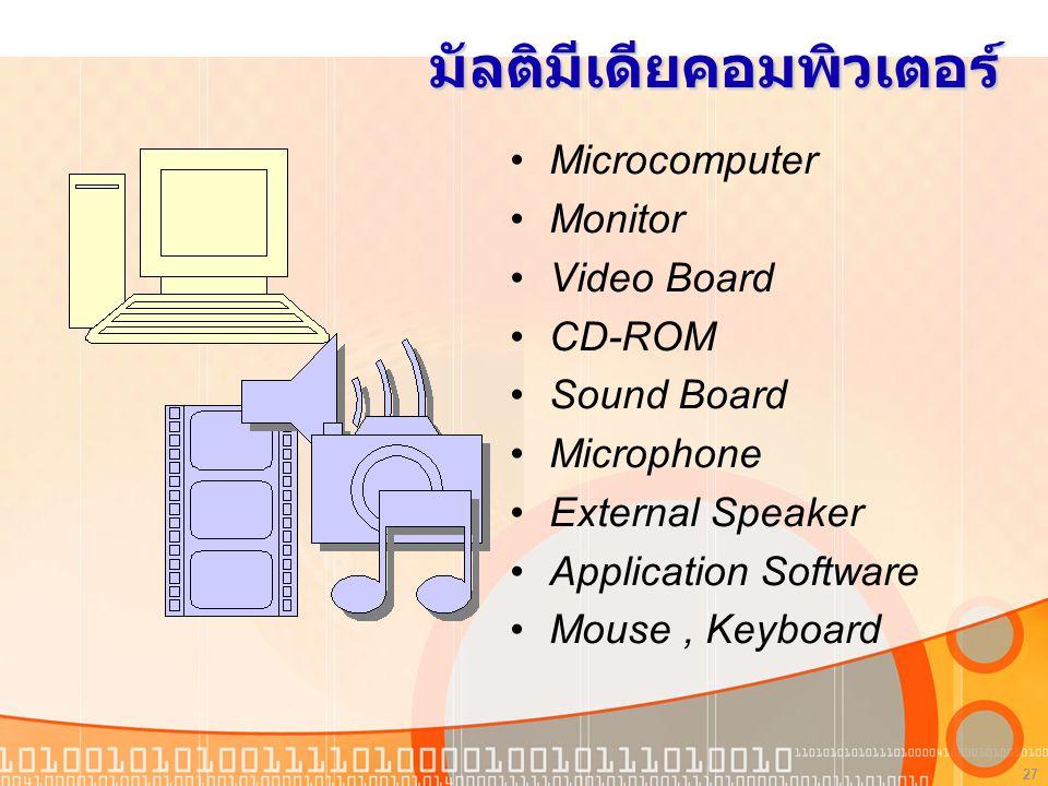 27 มัลติมีเดียคอมพิวเตอร์ Microcomputer Monitor Video Board CD-ROM Sound Board Microphone External Speaker Application Software Mouse, Keyboard