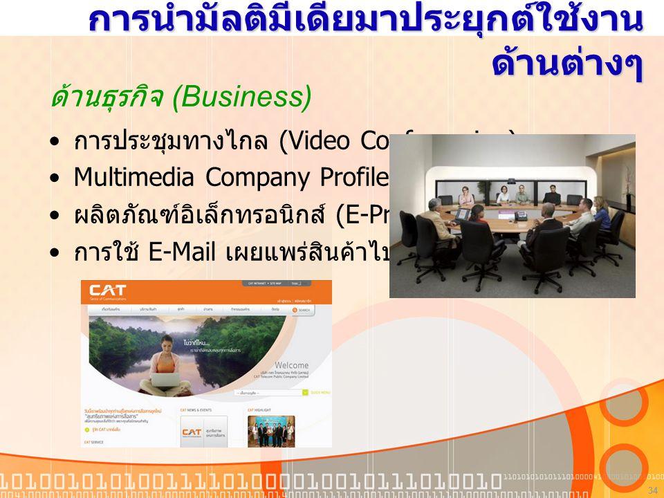 34 การนำมัลติมีเดียมาประยุกต์ใช้งาน ด้านต่างๆ ด้านธุรกิจ (Business) การประชุมทางไกล (Video Conferencing) Multimedia Company Profile ผลิตภัณฑ์อิเล็กทรอนิกส์ (E-Product) การใช้ E-Mail เผยแพร่สินค้าไปยังผู้บริโภค