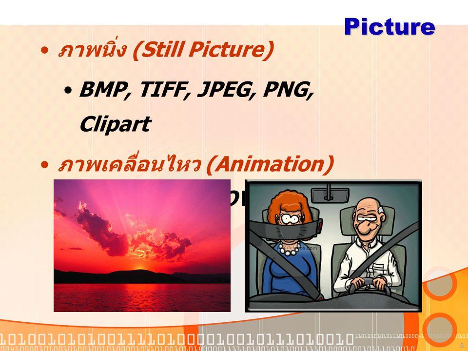 6 Picture ภาพนิ่ง (Still Picture) BMP, TIFF, JPEG, PNG, Clipart ภาพเคลื่อนไหว (Animation) MPEG, AVI, MOV, GIF, SWF
