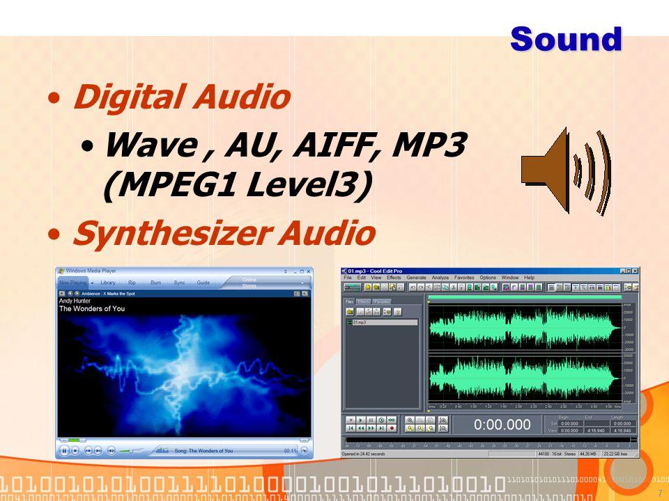 7 Sound Digital Audio Wave, AU, AIFF, MP3 (MPEG1 Level3) Synthesizer Audio MIDI