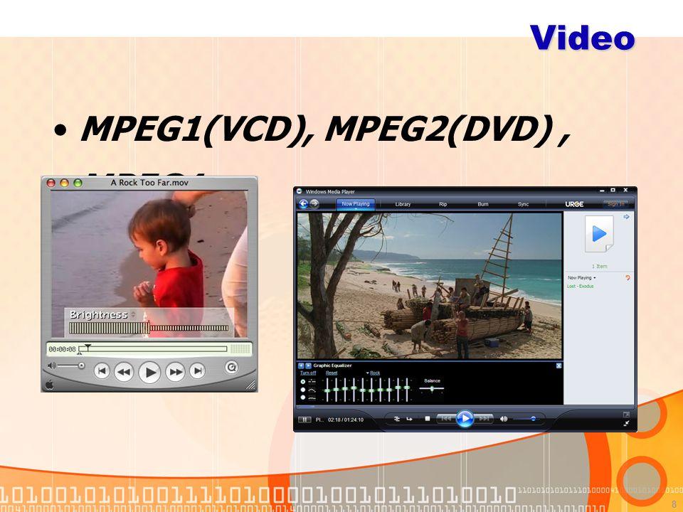 8 Video MPEG1(VCD), MPEG2(DVD), MPEG4