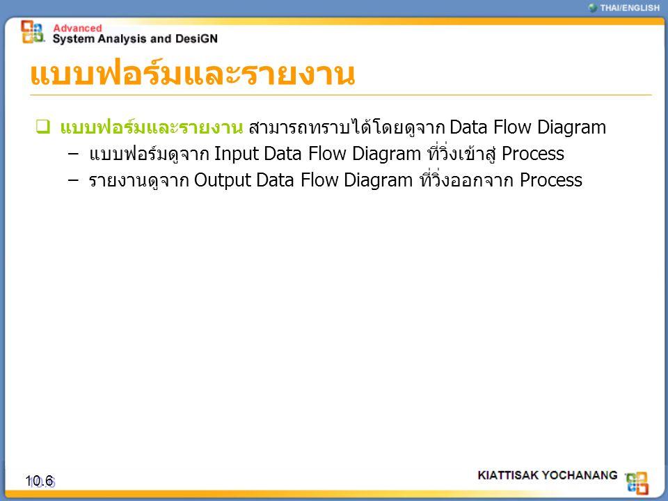 แบบฟอร์มและรายงาน 10.6  แบบฟอร์มและรายงาน สามารถทราบได้โดยดูจาก Data Flow Diagram –แบบฟอร์มดูจาก Input Data Flow Diagram ที่วิ่งเข้าสู่ Process –รายง