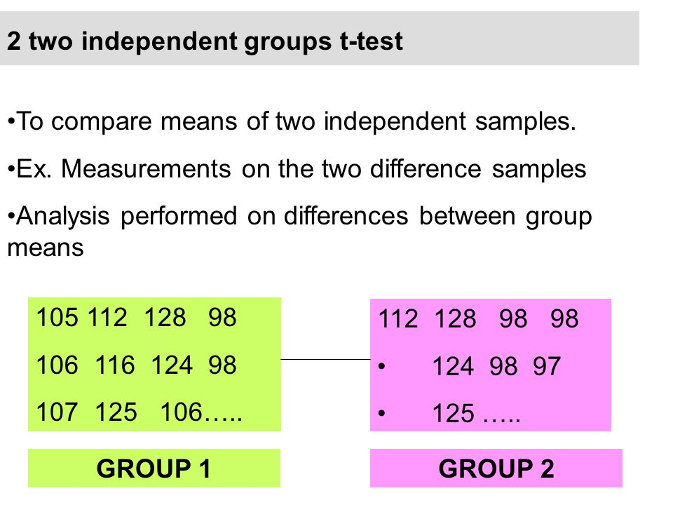 2 two independent groups t-test To compare means of two independent samples. Ex. Measurements on the two difference samples Analysis performed on diff
