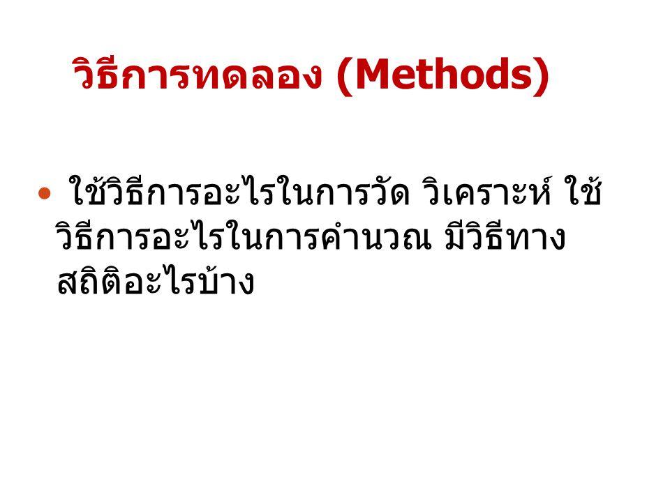 วิธีการทดลอง (Methods) ใช้วิธีการอะไรในการวัด วิเคราะห์ ใช้ วิธีการอะไรในการคำนวณ มีวิธีทาง สถิติอะไรบ้าง