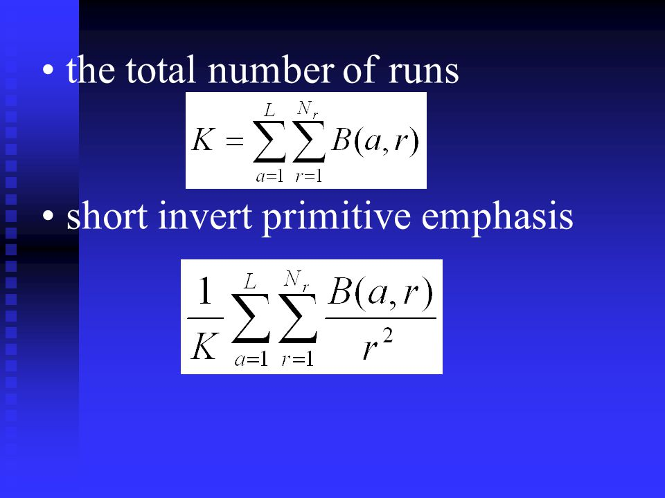 the total number of runs short invert primitive emphasis