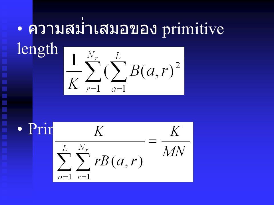 ความสม่ำเสมอของ primitive length Primitive percentage