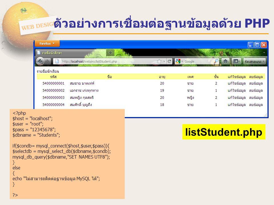 ตัวอย่างการเชื่อมต่อฐานข้อมูลด้วย PHP <?php $sql = mysql_query( SELECT * FROM Student ); while($data = mysql_fetch_array($sql)){ ?> แก้ไขข้อมูล ลบข้อมูล <?php } ?> listStudent.php