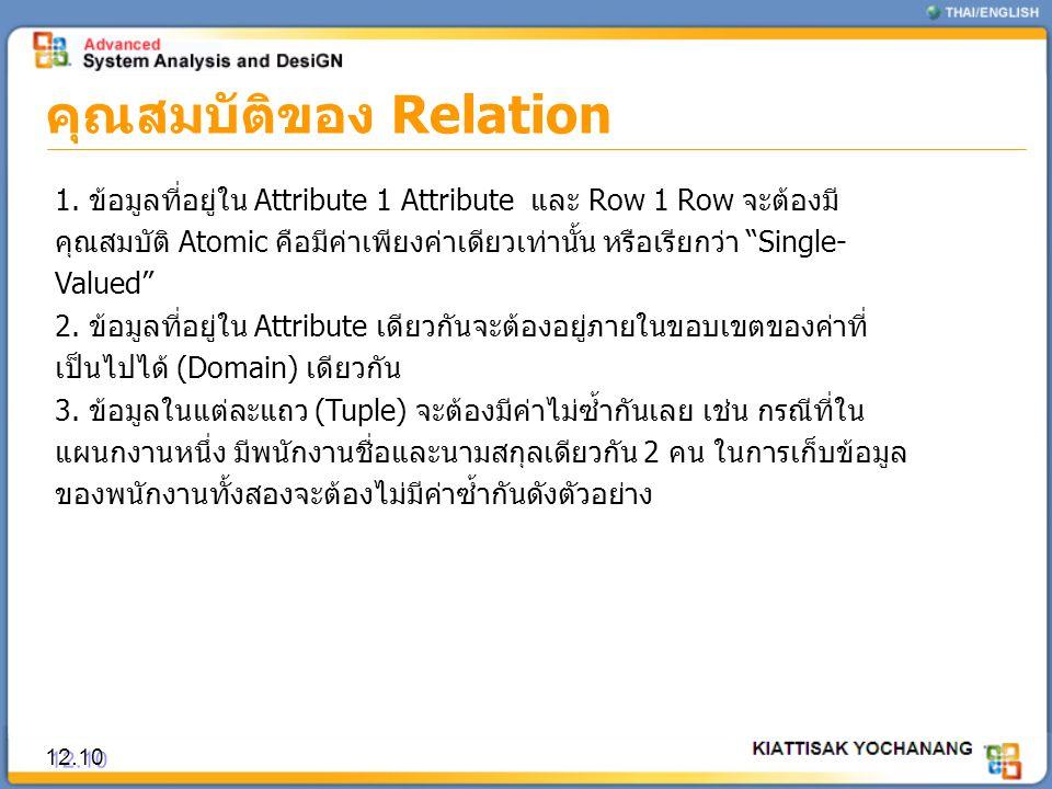 คุณสมบัติของ Relation 12.10 1. ข้อมูลที่อยู่ใน Attribute 1 Attribute และ Row 1 Row จะต้องมี คุณสมบัติ Atomic คือมีค่าเพียงค่าเดียวเท่านั้น หรือเรียกว่