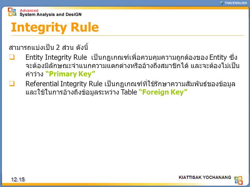 Integrity Rule 12.15 สามารถแบ่งเป็น 2 ส่วน ดังนี้  Entity Integrity Rule เป็นกฏเกณฑ์เพื่อควบคุมความถูกต้องของ Entity ซึ่ง จะต้องมีลักษณะจำแนกความแตกต