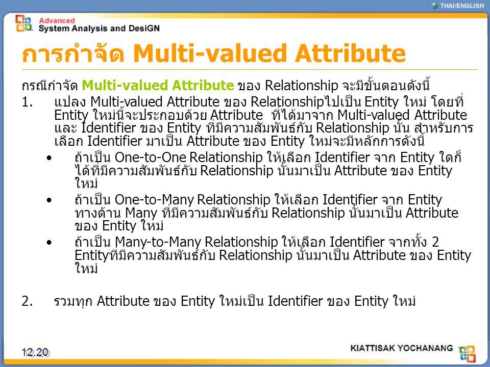 การกำจัด Multi-valued Attribute 12.20 กรณีกำจัด Multi-valued Attribute ของ Relationship จะมีขั้นตอนดังนี้ 1.แปลง Multi-valued Attribute ของ Relationsh