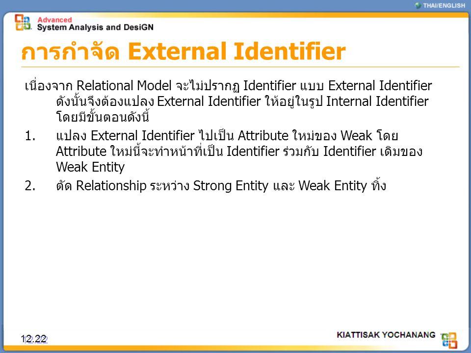 การกำจัด External Identifier 12.22 เนื่องจาก Relational Model จะไม่ปรากฏ Identifier แบบ External Identifier ดังนั้นจึงต้องแปลง External Identifier ให้