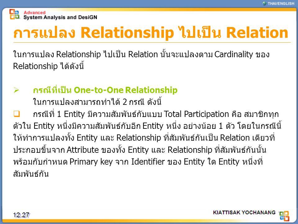 การแปลง Relationship ไปเป็น Relation 12.27 ในการแปลง Relationship ไปเป็น Relation นั้นจะแปลงตาม Cardinality ของ Relationship ได้ดังนี้  กรณีที่เป็น O