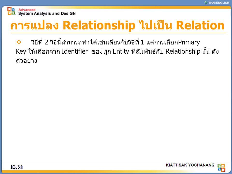 การแปลง Relationship ไปเป็น Relation 12.31  วิธีที่ 2 วิธีนี้สามารถทำได้เช่นเดียวกับวิธีที่ 1 แต่การเลือกPrimary Key ให้เลือกจาก Identifier ของทุก En