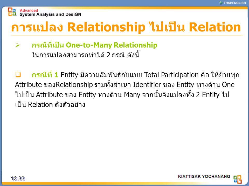 การแปลง Relationship ไปเป็น Relation 12.33  กรณีที่เป็น One-to-Many Relationship ในการแปลงสามารถทำได้ 2 กรณี ดังนี้  กรณีที่ 1 Entity มีความสัมพันธ์