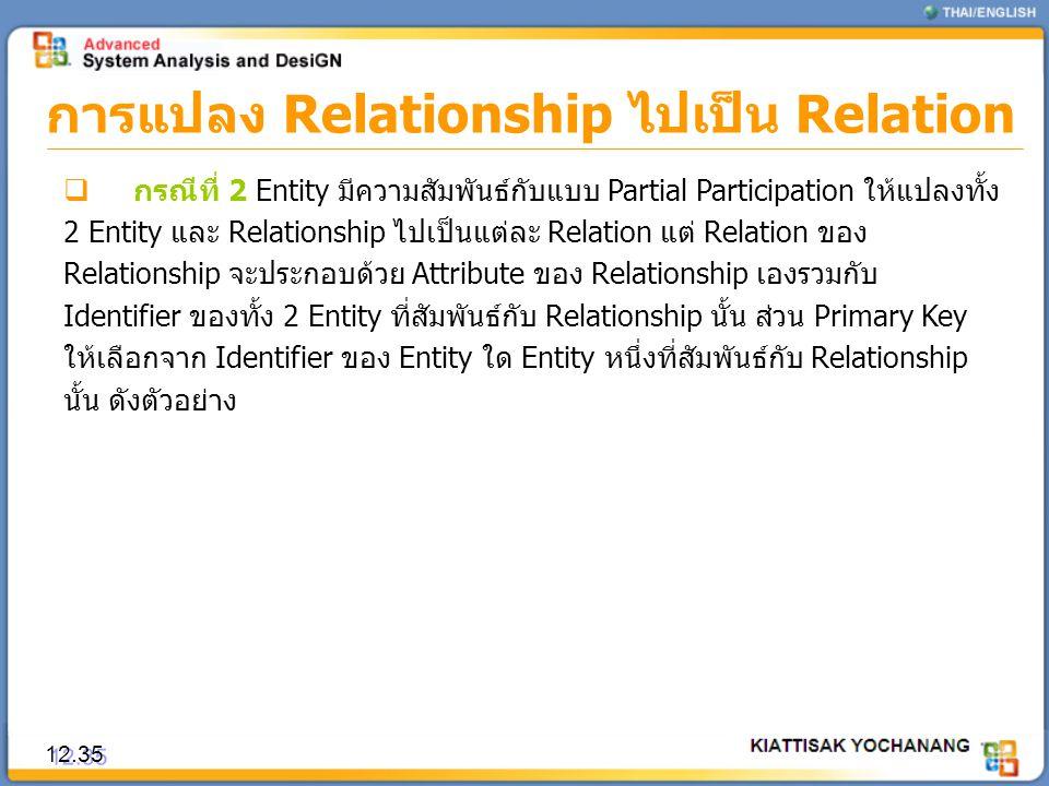 การแปลง Relationship ไปเป็น Relation 12.35  กรณีที่ 2 Entity มีความสัมพันธ์กับแบบ Partial Participation ให้แปลงทั้ง 2 Entity และ Relationship ไปเป็นแ