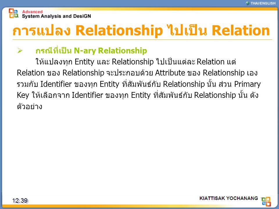การแปลง Relationship ไปเป็น Relation 12.39  กรณีที่เป็น N-ary Relationship ให้แปลงทุก Entity และ Relationship ไปเป็นแต่ละ Relation แต่ Relation ของ R
