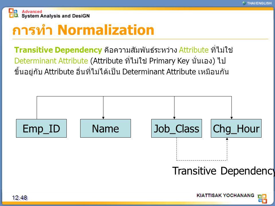 การทำ Normalization 12.48 Transitive Dependency คือความสัมพันธ์ระหว่าง Attribute ที่ไม่ใช่ Determinant Attribute (Attribute ที่ไม่ใช่ Primary Key นั่น