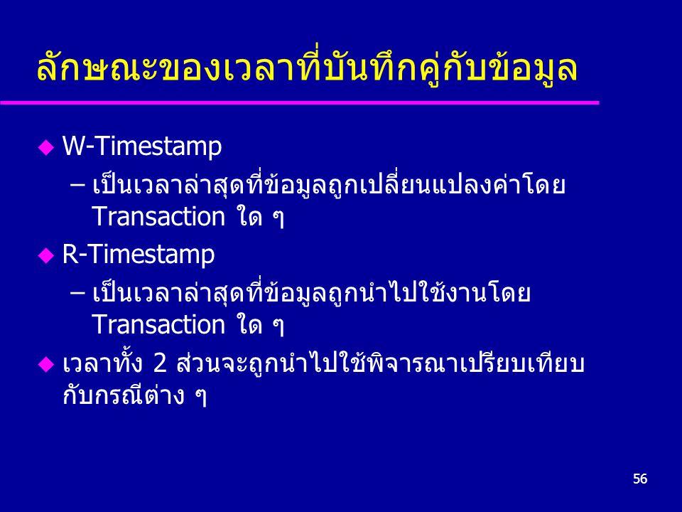 56 ลักษณะของเวลาที่บันทึกคู่กับข้อมูล u W-Timestamp –เป็นเวลาล่าสุดที่ข้อมูลถูกเปลี่ยนแปลงค่าโดย Transaction ใด ๆ u R-Timestamp –เป็นเวลาล่าสุดที่ข้อมูลถูกนำไปใช้งานโดย Transaction ใด ๆ u เวลาทั้ง 2 ส่วนจะถูกนำไปใช้พิจารณาเปรียบเทียบ กับกรณีต่าง ๆ