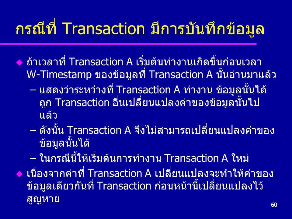 60 กรณีที่ Transaction มีการบันทึกข้อมูล u ถ้าเวลาที่ Transaction A เริ่มต้นทำงานเกิดขึ้นก่อนเวลา W-Timestamp ของข้อมูลที่ Transaction A นั้นอ่านมาแล้ว –แสดงว่าระหว่างที่ Transaction A ทำงาน ข้อมูลนั้นได้ ถูก Transaction อื่นเปลี่ยนแปลงค่าของข้อมูลนั้นไป แล้ว –ดังนั้น Transaction A จึงไม่สามารถเปลี่ยนแปลงค่าของ ข้อมูลนั้นได้ –ในกรณีนี้ให้เริ่มต้นการทำงาน Transaction A ใหม่ u เนื่องจากค่าที่ Transaction A เปลี่ยนแปลงจะทำให้ค่าของ ข้อมูลเดียวกันที่ Transaction ก่อนหน้านี้เปลี่ยนแปลงไว้ สูญหาย