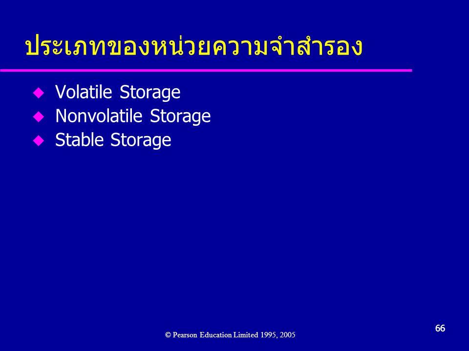 66 ประเภทของหน่วยความจำสำรอง u Volatile Storage u Nonvolatile Storage u Stable Storage © Pearson Education Limited 1995, 2005