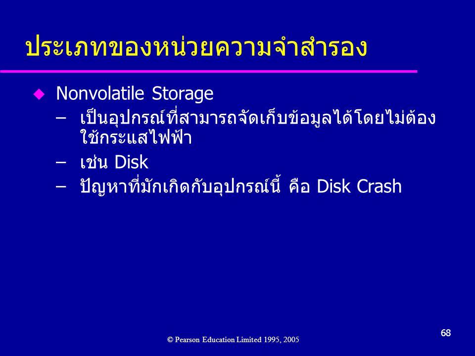 68 ประเภทของหน่วยความจำสำรอง u Nonvolatile Storage –เป็นอุปกรณ์ที่สามารถจัดเก็บข้อมูลได้โดยไม่ต้อง ใช้กระแสไฟฟ้า –เช่น Disk –ปัญหาที่มักเกิดกับอุปกรณ์นี้ คือ Disk Crash © Pearson Education Limited 1995, 2005