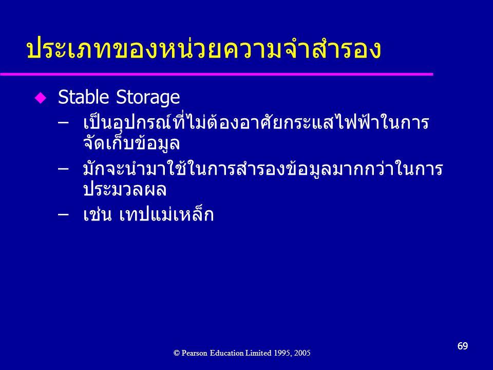 69 ประเภทของหน่วยความจำสำรอง u Stable Storage –เป็นอุปกรณ์ที่ไม่ต้องอาศัยกระแสไฟฟ้าในการ จัดเก็บข้อมูล –มักจะนำมาใช้ในการสำรองข้อมูลมากกว่าในการ ประมวลผล –เช่น เทปแม่เหล็ก © Pearson Education Limited 1995, 2005