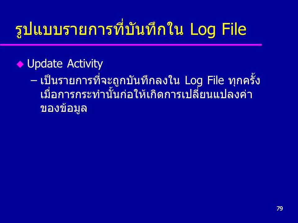79 รูปแบบรายการที่บันทึกใน Log File u Update Activity –เป็นรายการที่จะถูกบันทึกลงใน Log File ทุกครั้ง เมื่อการกระทำนั้นก่อให้เกิดการเปลี่ยนแปลงค่า ของข้อมูล