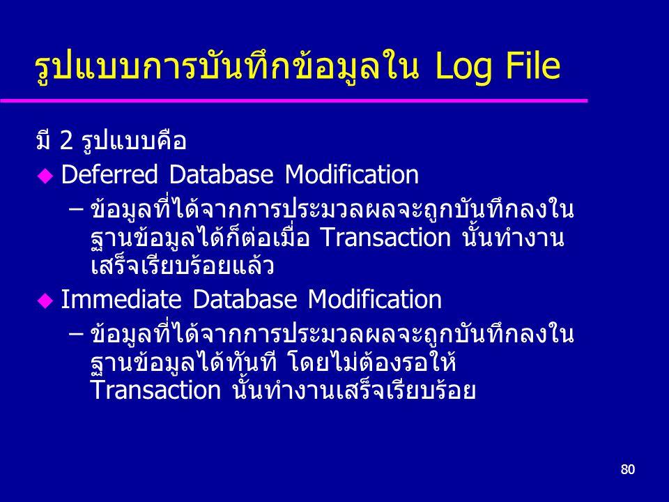 80 รูปแบบการบันทึกข้อมูลใน Log File มี 2 รูปแบบคือ u Deferred Database Modification –ข้อมูลที่ได้จากการประมวลผลจะถูกบันทึกลงใน ฐานข้อมูลได้ก็ต่อเมื่อ Transaction นั้นทำงาน เสร็จเรียบร้อยแล้ว u Immediate Database Modification –ข้อมูลที่ได้จากการประมวลผลจะถูกบันทึกลงใน ฐานข้อมูลได้ทันที โดยไม่ต้องรอให้ Transaction นั้นทำงานเสร็จเรียบร้อย