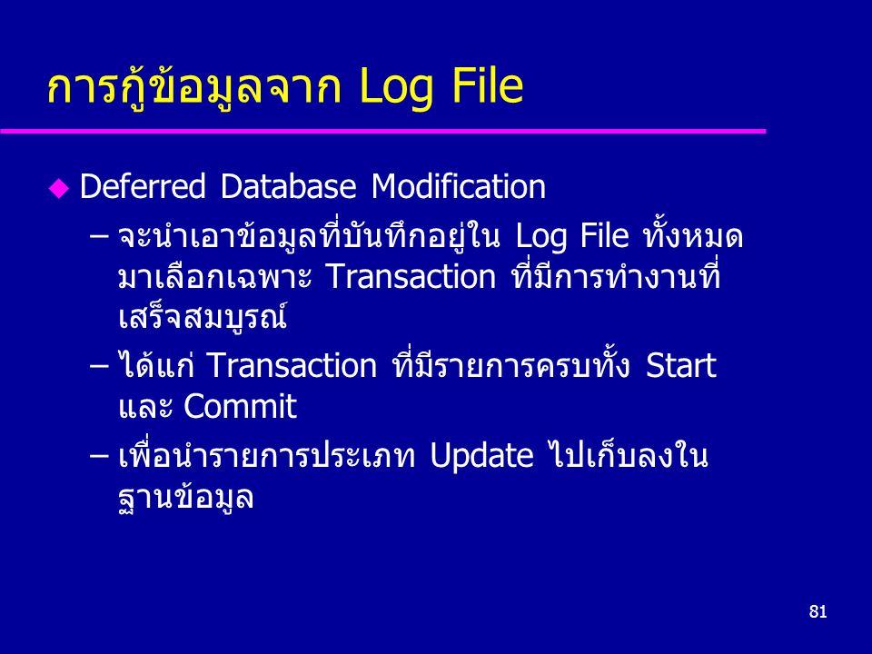 81 การกู้ข้อมูลจาก Log File u Deferred Database Modification –จะนำเอาข้อมูลที่บันทึกอยู่ใน Log File ทั้งหมด มาเลือกเฉพาะ Transaction ที่มีการทำงานที่ เสร็จสมบูรณ์ –ได้แก่ Transaction ที่มีรายการครบทั้ง Start และ Commit –เพื่อนำรายการประเภท Update ไปเก็บลงใน ฐานข้อมูล