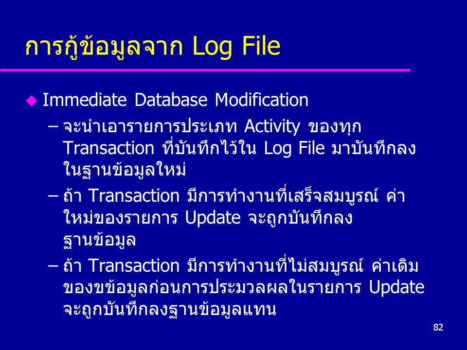 82 การกู้ข้อมูลจาก Log File u Immediate Database Modification –จะนำเอารายการประเภท Activity ของทุก Transaction ที่บันทึกไว้ใน Log File มาบันทึกลง ในฐานข้อมูลใหม่ –ถ้า Transaction มีการทำงานที่เสร็จสมบูรณ์ ค่า ใหม่ของรายการ Update จะถูกบันทึกลง ฐานข้อมูล –ถ้า Transaction มีการทำงานที่ไม่สมบูรณ์ ค่าเดิม ของขข้อมูลก่อนการประมวลผลในรายการ Update จะถูกบันทึกลงฐานข้อมูลแทน