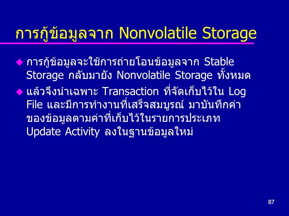 87 การกู้ข้อมูลจาก Nonvolatile Storage u การกู้ข้อมูลจะใช้การถ่ายโอนข้อมูลจาก Stable Storage กลับมายัง Nonvolatile Storage ทั้งหมด u แล้วจึงนำเฉพาะ Transaction ที่จัดเก็บไว้ใน Log File และมีการทำงานที่เสร็จสมบูรณ์ มาบันทึกค่า ของข้อมูลตามค่าที่เก็บไว้ในรายการประเภท Update Activity ลงในฐานข้อมูลใหม่
