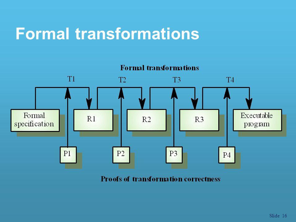 Slide 16 Formal transformations