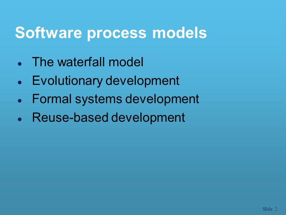 Slide 3 Waterfall model l เป็นวิธีการที่ได้รับการพัฒนาขึ้นมาตั้งแต่แรกเริ่ม ที่มีกระบวนการพัฒนาซอฟต์แวร์ l แบ่งกระบวนการทำงานออกเป็นขั้นตอนต่าง ๆ l ขั้นตอนในแต่ละช่วงจะสืบเนื่องกันไปจากขั้น หนึ่งสู่อีกขั้นหนึ่งตามลำดับเหมือนสายน้ำตก l สามารถย้อนกลับไปปรับปรุงขั้นตอนก่อนหน้า ได้ตามลำดับ l แนวทางนี้ผู้ใช้จะเห็นระบบใหม่ก็ต่อเมื่อ โครงการเสร็จสิ้น
