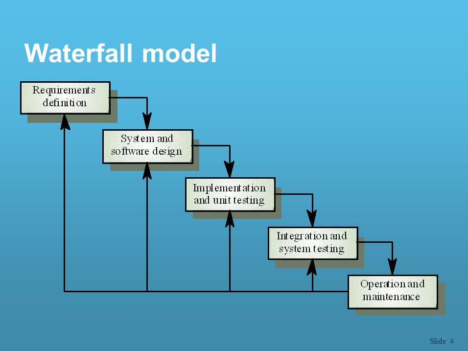 Slide 5 Waterfall model phases l Requirements analysis and definition การวิเคราะห์และให้คำจำกัดความของ ระบบงาน l System and software design ในการออกแบบระบบ ผู้ออกแบบต้อง คำนึงถึงโครงสร้างของฮาร์ดแวร์และ ซอฟต์แวร์ที่จำเป็นต้องพัฒนา ในการออกแบบซอฟต์แวร์เป็นการกำหนด โครงสร้างหลักของการโปรแกรมที่จะพัฒนา