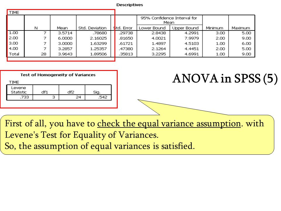 First of all, you have to check the equal variance assumption. with Levene's Test for Equality of Variances. So, the assumption of equal variances is