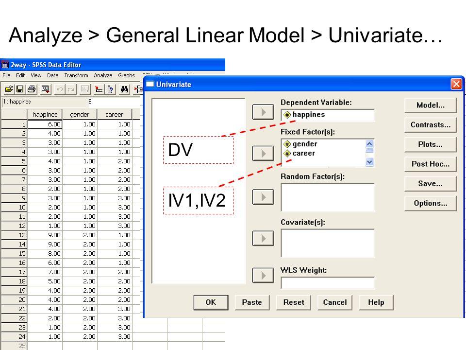 Analyze > General Linear Model > Univariate… IV1,IV2 DV
