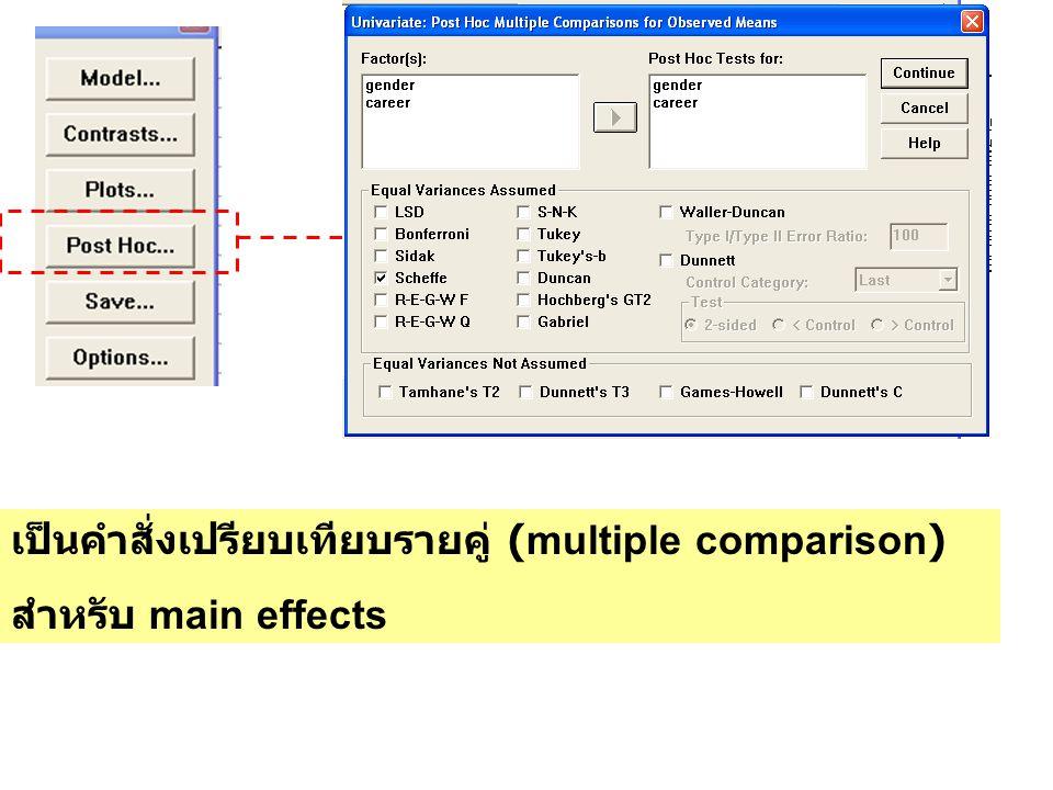 เป็นคำสั่งเปรียบเทียบรายคู่ (multiple comparison) สำหรับ main effects