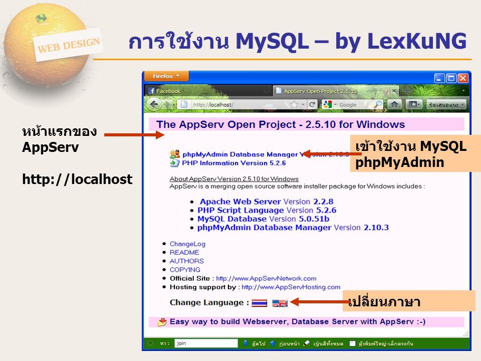 การใช้งาน MySQL – by LexKuNG หน้าแรกของ AppServ http://localhost เข้าใช้งาน MySQL phpMyAdmin เปลี่ยนภาษา