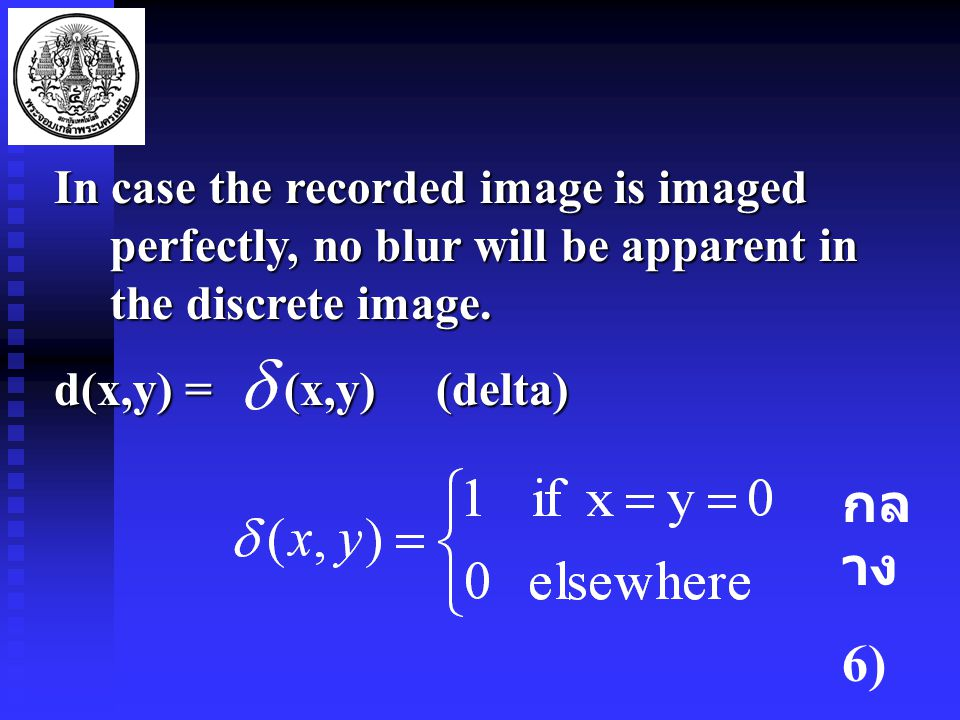 In case the recorded image is imaged perfectly, no blur will be apparent in the discrete image.