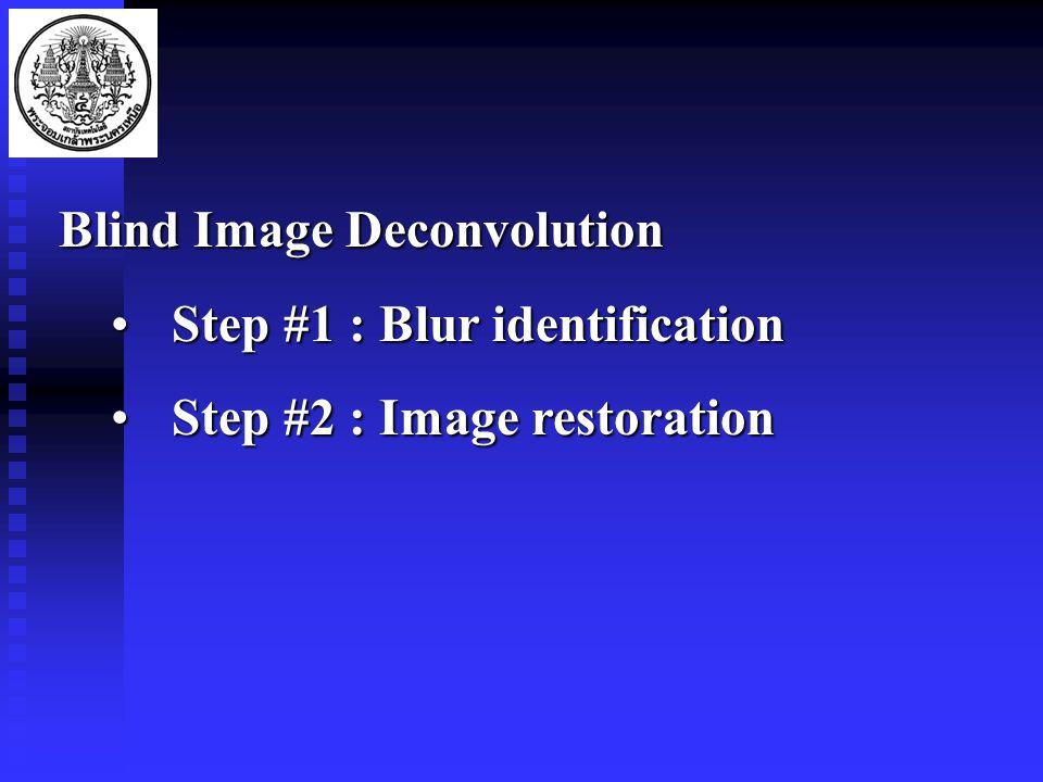 Blind Image Deconvolution Step #1 : Blur identificationStep #1 : Blur identification Step #2 : Image restorationStep #2 : Image restoration