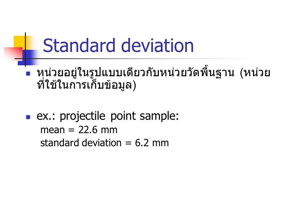 Standard deviation หน่วยอยู่ในรูปแบบเดียวกับหน่วยวัดพื้นฐาน (หน่วย ที่ใช้ในการเก็บข้อมูล) ex.: projectile point sample: mean = 22.6 mm standard deviat