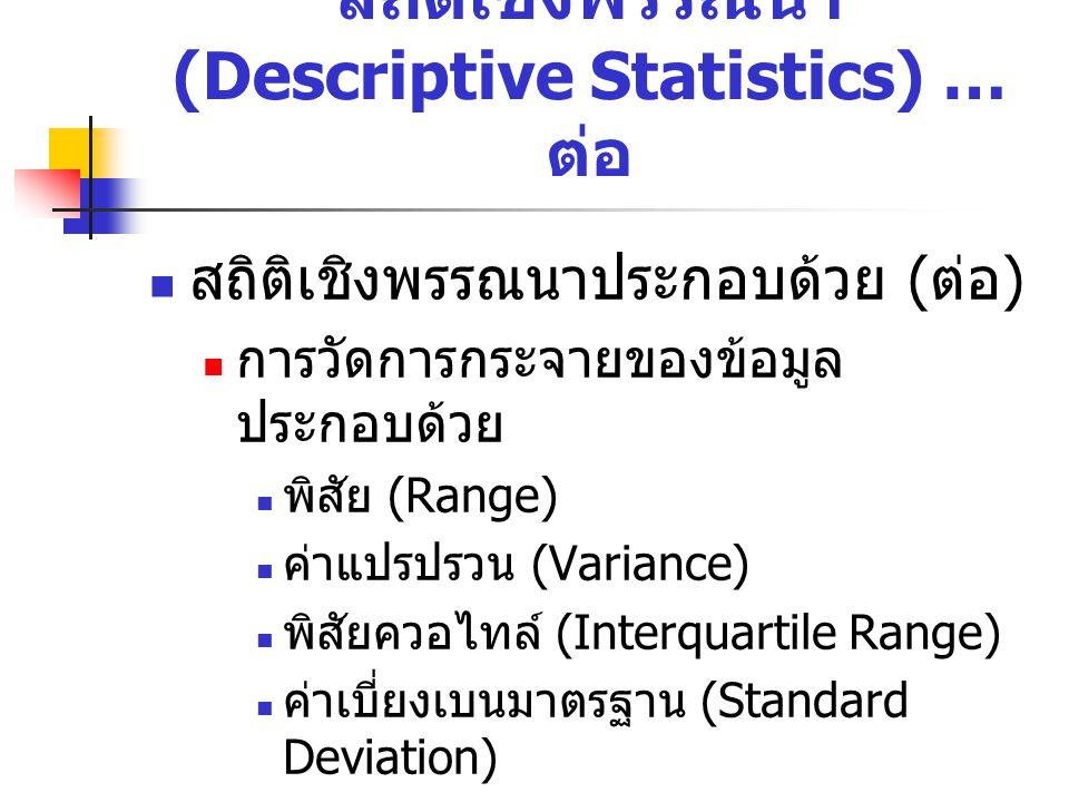 สถิติเชิงพรรณนาประกอบด้วย ( ต่อ ) การวัดการกระจายของข้อมูล ประกอบด้วย พิสัย (Range) ค่าแปรปรวน (Variance) พิสัยควอไทล์ (Interquartile Range) ค่าเบี่ยง