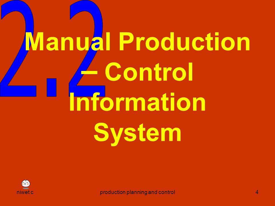 niwet cproduction planning and control5 ข้อมูลเพื่อการ ตัดสินใจควบคุม การผลิต 2.1 ข้อมูลป้อนเข้าจาก โรงงานผลิต 2.2 ข้อมูลที่ออกจากการ ควบคุมการผลิต
